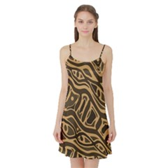 Brown abstract art Satin Night Slip