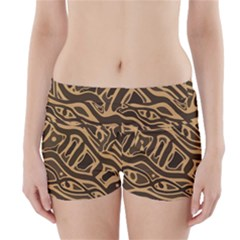Brown abstract art Boyleg Bikini Wrap Bottoms