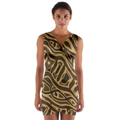 Brown Abstract Art Wrap Front Bodycon Dress