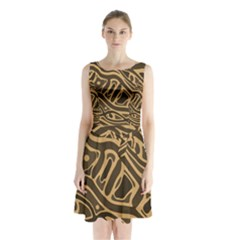 Brown Abstract Art Sleeveless Waist Tie Dress