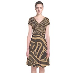 Brown Abstract Art Short Sleeve Front Wrap Dress