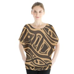 Brown abstract art Blouse