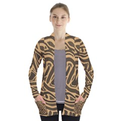 Brown abstract art Women s Open Front Pockets Cardigan(P194)