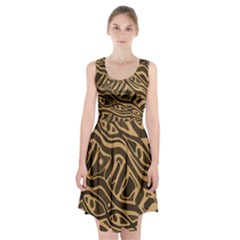 Brown abstract art Racerback Midi Dress