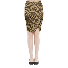 Brown abstract art Midi Wrap Pencil Skirt
