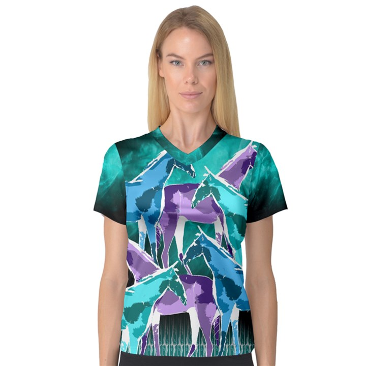 Horses under a galaxy Women s V-Neck Sport Mesh Tee