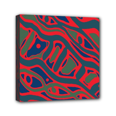 Red and green abstract art Mini Canvas 6  x 6