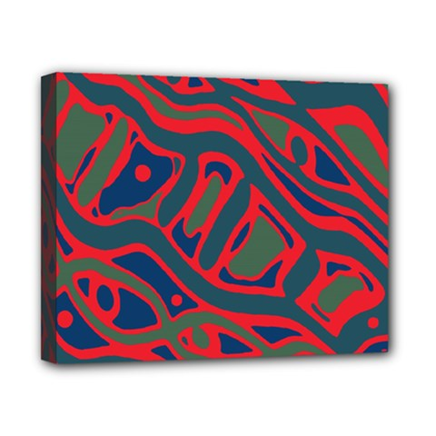 Red and green abstract art Canvas 10  x 8