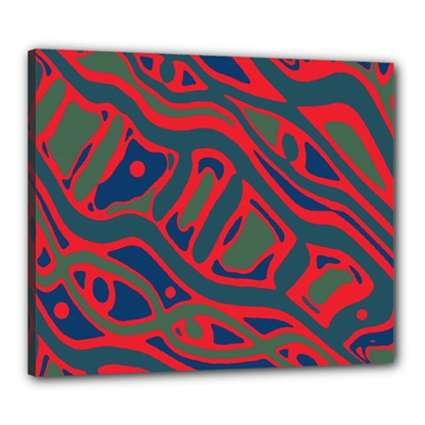 Red and green abstract art Canvas 24  x 20