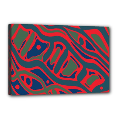 Red and green abstract art Canvas 18  x 12