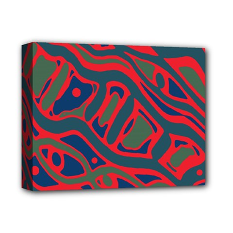 Red and green abstract art Deluxe Canvas 14  x 11