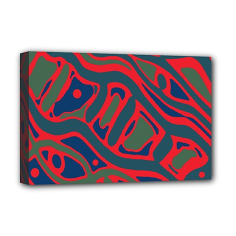 Red and green abstract art Deluxe Canvas 18  x 12
