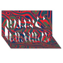 Red and green abstract art Happy Birthday 3D Greeting Card (8x4)