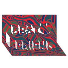 Red and green abstract art Best Friends 3D Greeting Card (8x4)