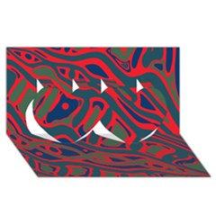 Red and green abstract art Twin Hearts 3D Greeting Card (8x4)