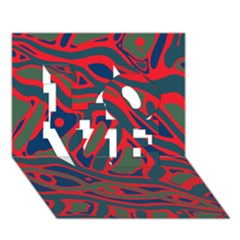 Red and green abstract art LOVE 3D Greeting Card (7x5)
