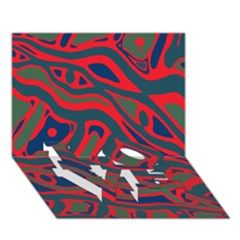 Red and green abstract art LOVE Bottom 3D Greeting Card (7x5)