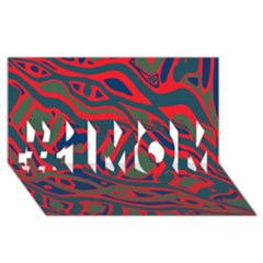 Red and green abstract art #1 MOM 3D Greeting Cards (8x4)