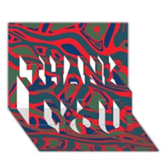 Red and green abstract art THANK YOU 3D Greeting Card (7x5)