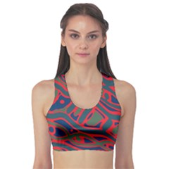 Red and green abstract art Sports Bra