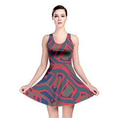 Red and green abstract art Reversible Skater Dress