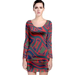 Red and green abstract art Long Sleeve Bodycon Dress