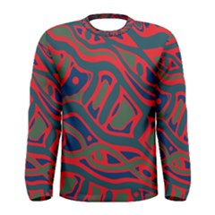 Red and green abstract art Men s Long Sleeve Tee