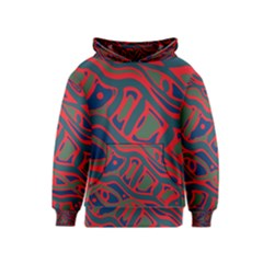 Red and green abstract art Kids  Pullover Hoodie