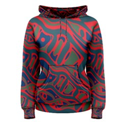 Red and green abstract art Women s Pullover Hoodie