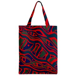 Red and green abstract art Zipper Classic Tote Bag