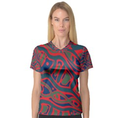 Red and green abstract art Women s V-Neck Sport Mesh Tee