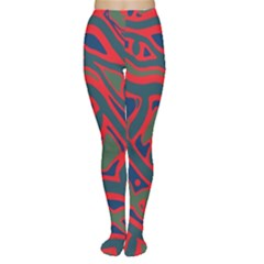 Red and green abstract art Women s Tights