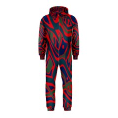 Red and green abstract art Hooded Jumpsuit (Kids)