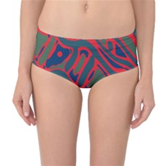Red and green abstract art Mid-Waist Bikini Bottoms
