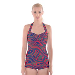 Red and green abstract art Boyleg Halter Swimsuit