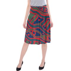 Red And Green Abstract Art Midi Beach Skirt