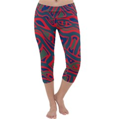 Red and green abstract art Capri Yoga Leggings