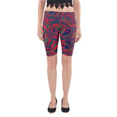 Red and green abstract art Yoga Cropped Leggings