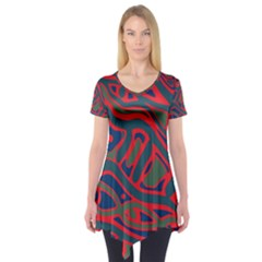 Red and green abstract art Short Sleeve Tunic