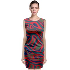 Red and green abstract art Classic Sleeveless Midi Dress