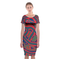 Red And Green Abstract Art Classic Short Sleeve Midi Dress