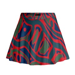 Red and green abstract art Mini Flare Skirt