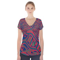 Red And Green Abstract Art Short Sleeve Front Detail Top