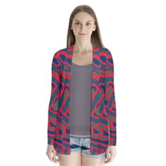 Red and green abstract art Drape Collar Cardigan