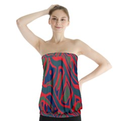 Red and green abstract art Strapless Top
