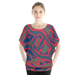 Red and green abstract art Blouse