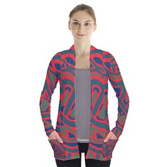 Red and green abstract art Women s Open Front Pockets Cardigan(P194)
