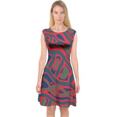 Red And Green Abstract Art Capsleeve Midi Dress