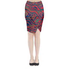 Red and green abstract art Midi Wrap Pencil Skirt