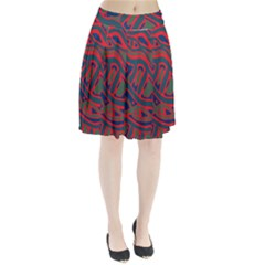 Red And Green Abstract Art Pleated Skirt